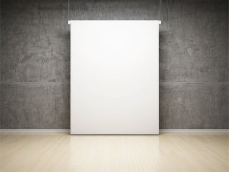 enki (artist) - Empty white projection screen in studio on concrete wall Stock Photo - Budget Royalty-Free & Subscription, Code: 400-06854839
