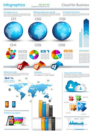 Infographic layout template with world maps. Ideal for global statistics and for every kind of data visualization. Delicate shadows and high costrast colours. Stock Photo - Budget Royalty-Free & Subscription, Code: 400-06855136