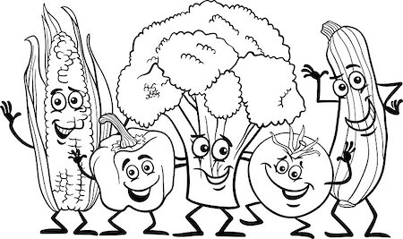 Black and White Cartoon Illustration of Happy Vegetables Food Characters Group for Coloring Book Stock Photo - Budget Royalty-Free & Subscription, Code: 400-06855958