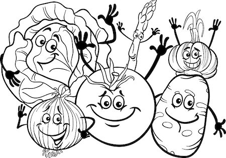 Black and White Cartoon Illustration of Funny Vegetables Food Characters Group for Coloring Book Stock Photo - Budget Royalty-Free & Subscription, Code: 400-06855964
