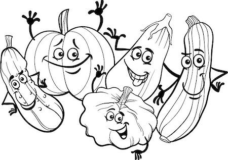 Black and White Cartoon Illustration of Funny Cucurbits Vegetables Food Characters Group for Coloring Book Stock Photo - Budget Royalty-Free & Subscription, Code: 400-06855960