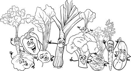Black and White Cartoon Illustration of Funny Vegetables Food Characters Big Group for Coloring Book Stock Photo - Budget Royalty-Free & Subscription, Code: 400-06855962