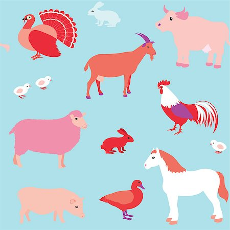 Colorful seamless pattern with farm animals Stock Photo - Budget Royalty-Free & Subscription, Code: 400-06857561