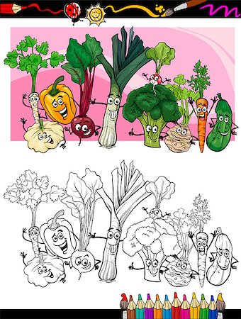 Coloring Book or Page Humor Cartoon Illustration of Comic Vegetables Funny Food Objects Group for Children Education Stock Photo - Budget Royalty-Free & Subscription, Code: 400-06857816