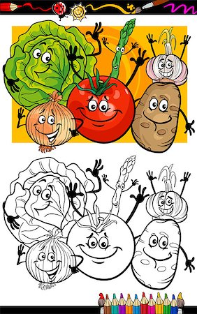 Coloring Book or Page Humor Cartoon Illustration of Comic Vegetables Food Objects Group for Children Education Stock Photo - Budget Royalty-Free & Subscription, Code: 400-06857817