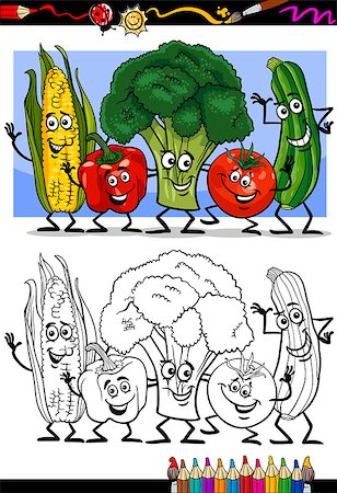 Coloring Book or Page Humor Cartoon Illustration of Vegetables Comic Food Objects Group for Children Education Stock Photo - Budget Royalty-Free & Subscription, Code: 400-06857818