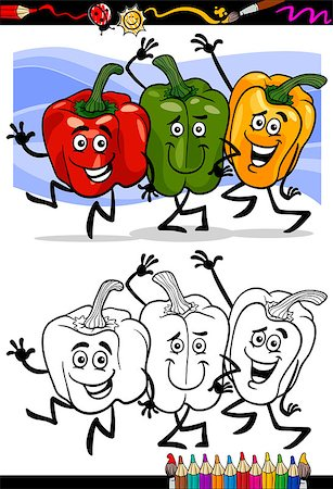 Coloring Book or Page Cartoon Illustration of Three Peppers Vegetables Red and Green and Yellow Funny Food Objects Group for Children Education Stock Photo - Budget Royalty-Free & Subscription, Code: 400-06857812