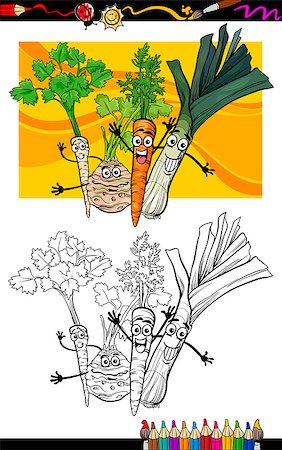 Coloring Book or Page Cartoon Illustration of Soup Vegetables Funny Food Objects Group for Children Education Stock Photo - Budget Royalty-Free & Subscription, Code: 400-06857813