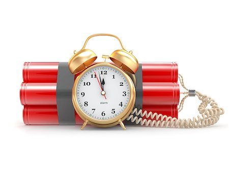 Countdown.  Time bomb with alarm clock detonator. Dynamit. 3d Stock Photo - Budget Royalty-Free & Subscription, Code: 400-06859958