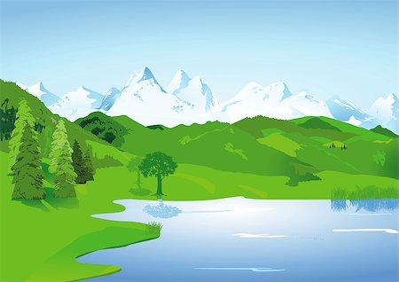 Landscape with high mountains and lake Stock Photo - Budget Royalty-Free & Subscription, Code: 400-06850139