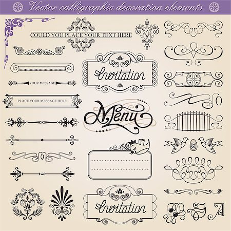 Vector calligraphic decoration elements set, all elements isolated from background Stock Photo - Budget Royalty-Free & Subscription, Code: 400-06850150