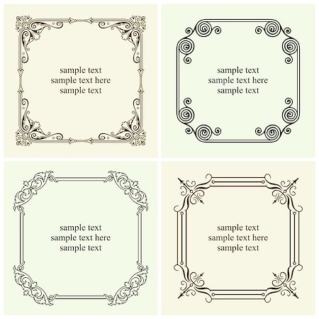 elegant wedding floral graphic - Set of decorative text frames Stock Photo - Budget Royalty-Free & Subscription, Code: 400-06850229