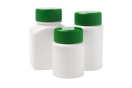 Plastic Containers For Medicine On White Background Stock Photo - Budget Royalty-Free & Subscription, Code: 400-06850358