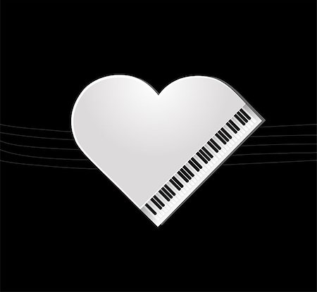 white piano on black background for your design Stock Photo - Budget Royalty-Free & Subscription, Code: 400-06850616