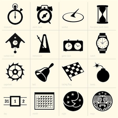 sand clock - Set of time object icons Stock Photo - Budget Royalty-Free & Subscription, Code: 400-06851364