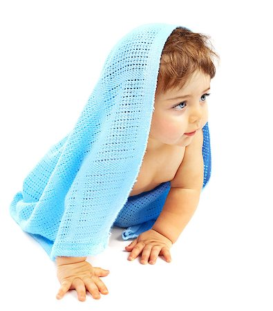 Sweet little baby boy covered blue towel, adorable child isolated on white background, cute small kid sitting indoor, healthy lifestyle, happy childhood concept Stock Photo - Budget Royalty-Free & Subscription, Code: 400-06851518