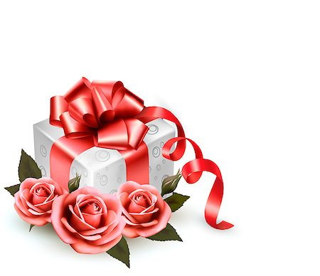 Holiday background with pink roses and gift box.Vector Stock Photo - Budget Royalty-Free & Subscription, Code: 400-06851732