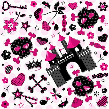 cute aggressive girlish pattern on pink background Stock Photo - Budget Royalty-Free & Subscription, Code: 400-06852068