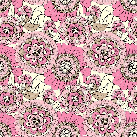 Elegant floral wallpaper - seamless pattern Stock Photo - Budget Royalty-Free & Subscription, Code: 400-06852947