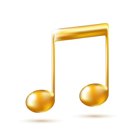 Golden Music Note Sign. Music icon. Vector illustration Stock Photo - Budget Royalty-Free & Subscription, Code: 400-06853059