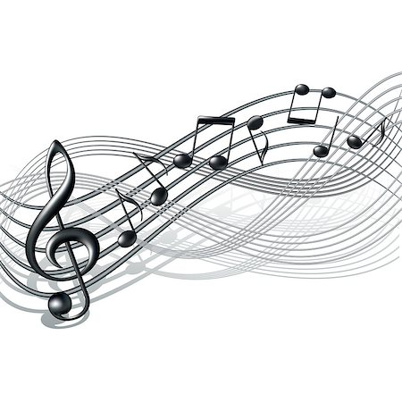 Musical notes staff background on white. Vector illustration. Stock Photo - Budget Royalty-Free & Subscription, Code: 400-06853499