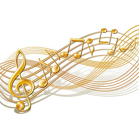 Gold musical notes staff background on white. Vector illustration. Stock Photo - Budget Royalty-Free & Subscription, Code: 400-06853500