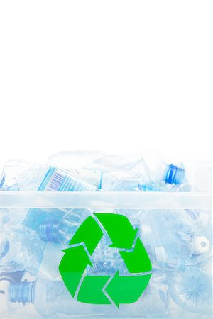 Plastic box for recycling bottles on white background Stock Photo - Budget Royalty-Free & Subscription, Code: 400-06864411