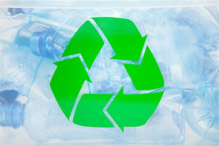 Recycling sign on a plastic box with bottles inside Stock Photo - Budget Royalty-Free & Subscription, Code: 400-06864413