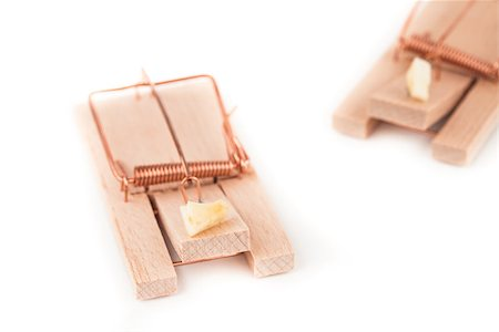 Pair of mousetraps with cheese Stock Photo - Budget Royalty-Free & Subscription, Code: 400-06864459