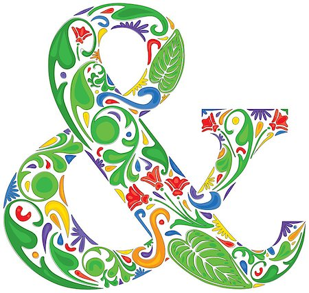 Colorful ampersand made of floral elements Stock Photo - Budget Royalty-Free & Subscription, Code: 400-06866974