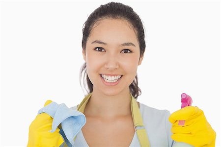 rubber apron woman - Smiling woman in rubber gloves with cloth and spray bottle Stock Photo - Budget Royalty-Free & Subscription, Code: 400-06863604