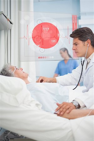 Doctor checking pulse of elderly patient beside hovering futuristic screen displaying ECG data Stock Photo - Budget Royalty-Free & Subscription, Code: 400-06875784