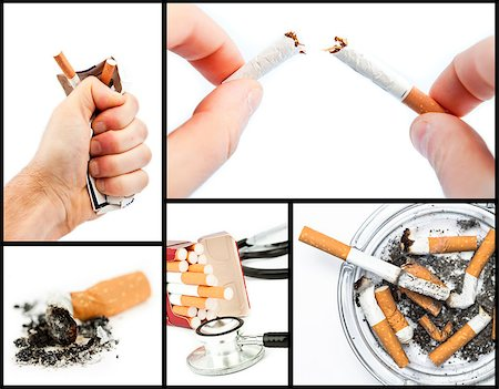 Collage with cigarettes and ashtray Stock Photo - Budget Royalty-Free & Subscription, Code: 400-06878649