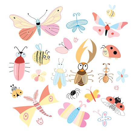set of funny colored insects on a white background Stock Photo - Budget Royalty-Free & Subscription, Code: 400-06891682