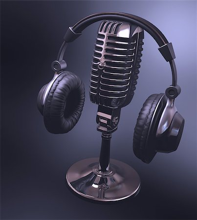 Headset on top of a classic microphone. Stock Photo - Budget Royalty-Free & Subscription, Code: 400-06891768