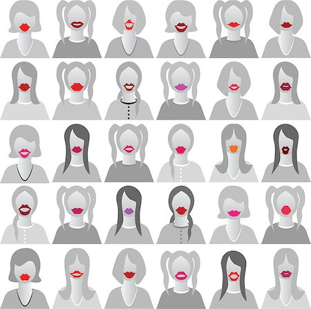 svetap (artist) - Lip smile set icons isolated set movember, costume party on woman face. Body template for fun social communication vector. Stock Photo - Budget Royalty-Free & Subscription, Code: 400-06892423