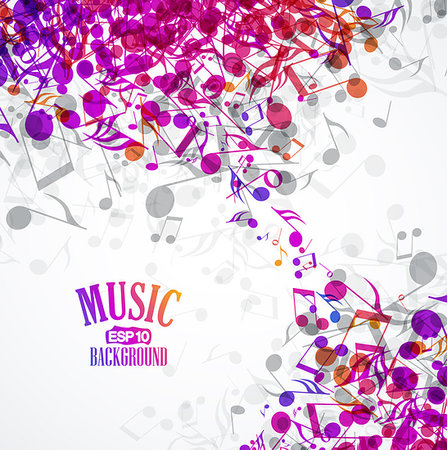 Vector musical background with colored notes Stock Photo - Budget Royalty-Free & Subscription, Code: 400-06914104