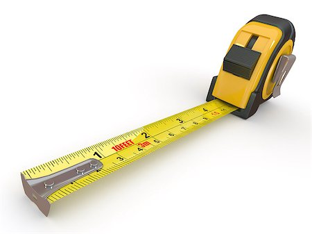 Tools. Measure tape on white background. 3d Stock Photo - Budget Royalty-Free & Subscription, Code: 400-06916209