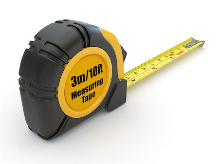 Tools. Measure tape on white background. 3d Stock Photo - Budget Royalty-Free & Subscription, Code: 400-06916228