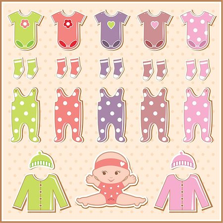 Scrapbook elements with baby clothes Stock Photo - Budget Royalty-Free & Subscription, Code: 400-06911327