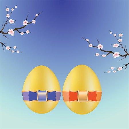 colorful illustration with two easter eggs for your design Stock Photo - Budget Royalty-Free & Subscription, Code: 400-06911708
