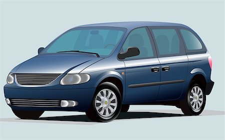 Isolated Graphic Illustration Of Modern Blue Minivan Stock Photo - Budget Royalty-Free & Subscription, Code: 400-06911777