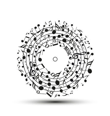 Decoration of musical notes in the shape of a circle Stock Photo - Budget Royalty-Free & Subscription, Code: 400-06912212