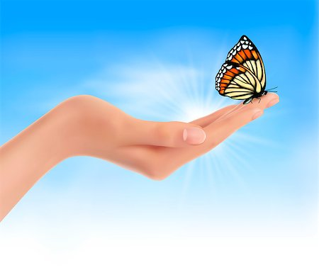 Hand holding a butterfly against a blue sky. Vector illustration. Stock Photo - Budget Royalty-Free & Subscription, Code: 400-06912266