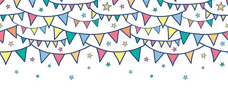 Vector colorful doodle bunting flags horizontal seamless pattern background with hand drawn elements Stock Photo - Budget Royalty-Free & Subscription, Code: 400-06912550
