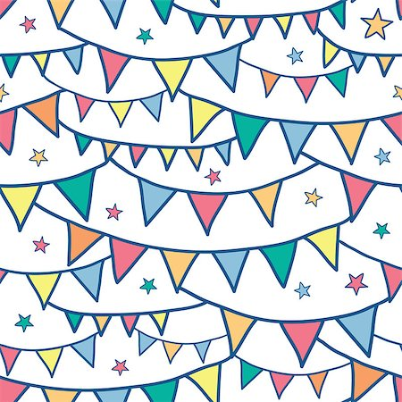 Vector colorful doodle bunting flags seamless pattern background with hand drawn elements Stock Photo - Budget Royalty-Free & Subscription, Code: 400-06912551