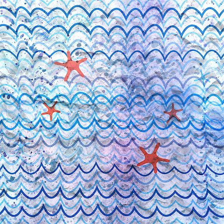 simsearch:400-04638538,k - sea-blue repeating pattern on a watercolor background Stock Photo - Budget Royalty-Free & Subscription, Code: 400-06924834