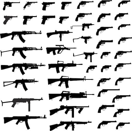 Collection Of Gun. Detailed Vector Illustration. Isolated On White. Stock Photo - Budget Royalty-Free & Subscription, Code: 400-06922668