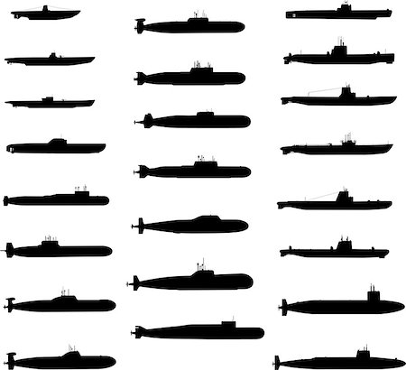 Vector Silhouettes Of Russian And American Submarines Stock Photo - Budget Royalty-Free & Subscription, Code: 400-06922670