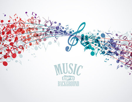 silhouette musical symbols - Vector musical background with colored notes Stock Photo - Budget Royalty-Free & Subscription, Code: 400-06923153